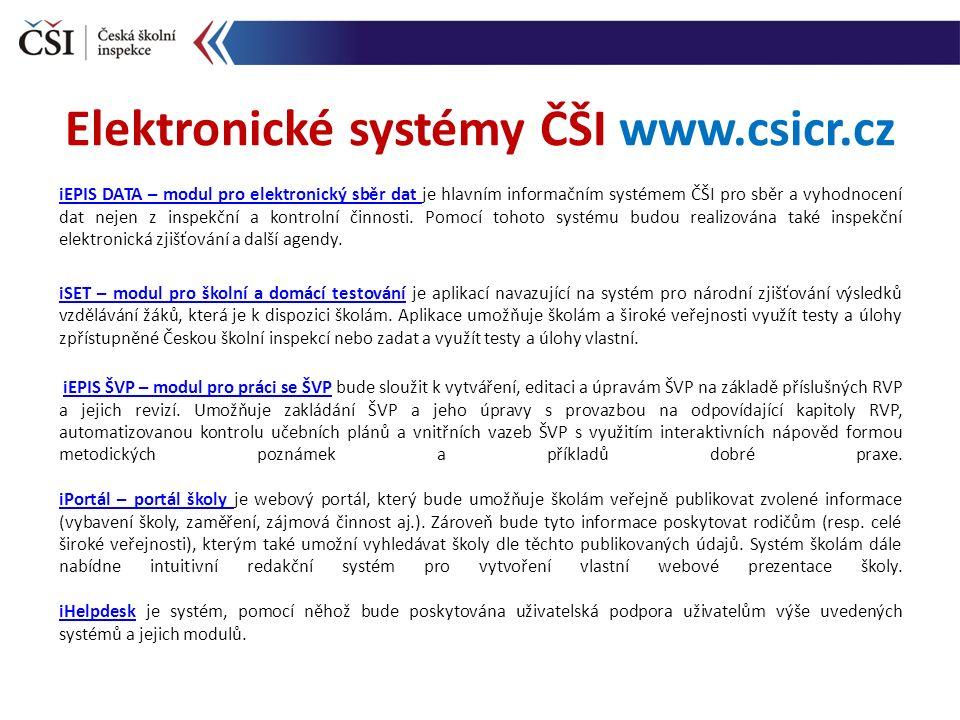 iEPIS DATA – modul pro elektronický sběr dat iEPIS DATA – modul pro elektronický sběr dat je hlavním informačním systémem ČŠI pro sběr a vyhodnocení dat nejen z inspekční a kontrolní činnosti.