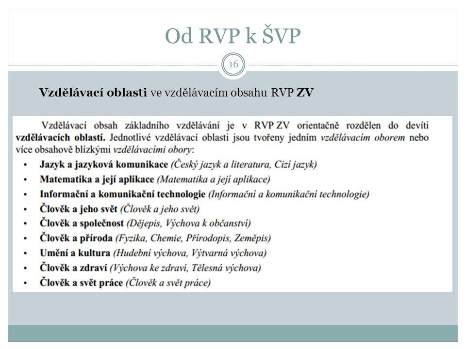Od RVP k ŠVP 16 Vzdělávací oblasti ve vzdělávacím obsahu RVP ZV