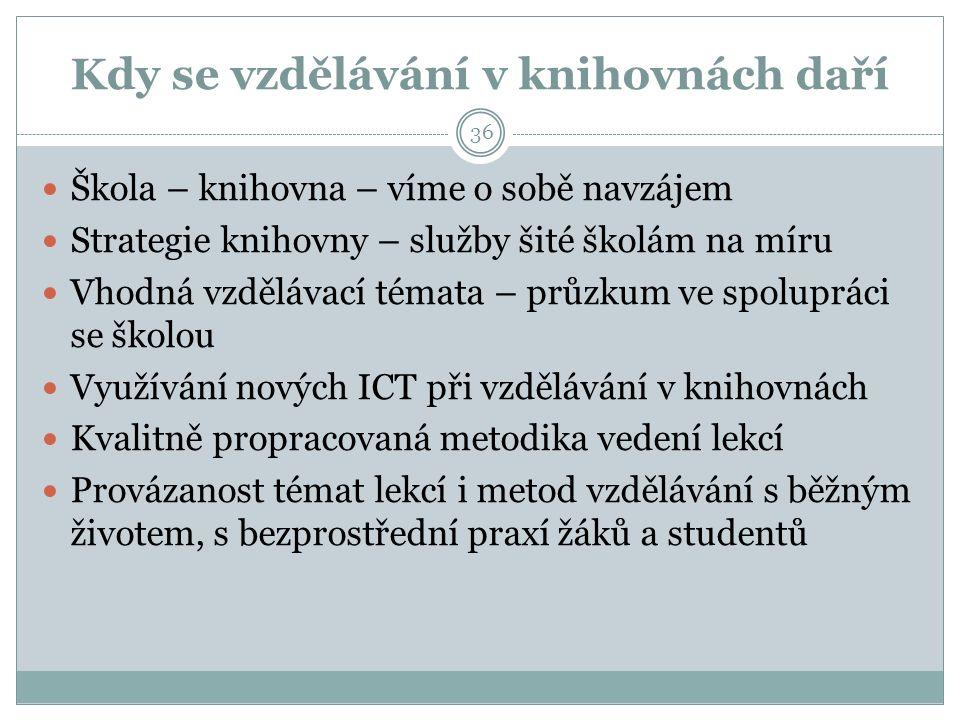 Kdy se vzdělávání v knihovnách daří Škola – knihovna – víme o sobě navzájem Strategie knihovny – služby šité školám na míru Vhodná vzdělávací témata – průzkum ve spolupráci se školou Využívání nových ICT při vzdělávání v knihovnách Kvalitně propracovaná metodika vedení lekcí Provázanost témat lekcí i metod vzdělávání s běžným životem, s bezprostřední praxí žáků a studentů 36