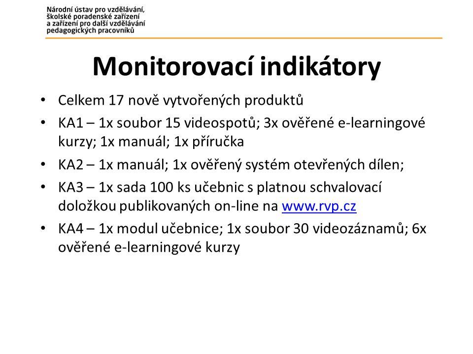 Monitorovací indikátory Celkem 17 nově vytvořených produktů KA1 – 1x soubor 15 videospotů; 3x ověřené e-learningové kurzy; 1x manuál; 1x příručka KA2 – 1x manuál; 1x ověřený systém otevřených dílen; KA3 – 1x sada 100 ks učebnic s platnou schvalovací doložkou publikovaných on-line na www.rvp.czwww.rvp.cz KA4 – 1x modul učebnice; 1x soubor 30 videozáznamů; 6x ověřené e-learningové kurzy
