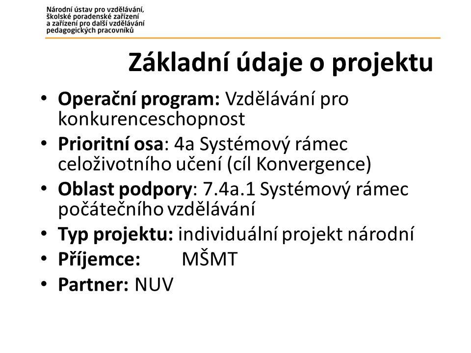 Základní údaje o projektu Operační program: Vzdělávání pro konkurenceschopnost Prioritní osa: 4a Systémový rámec celoživotního učení (cíl Konvergence) Oblast podpory: 7.4a.1 Systémový rámec počátečního vzdělávání Typ projektu: individuální projekt národní Příjemce: MŠMT Partner:NUV