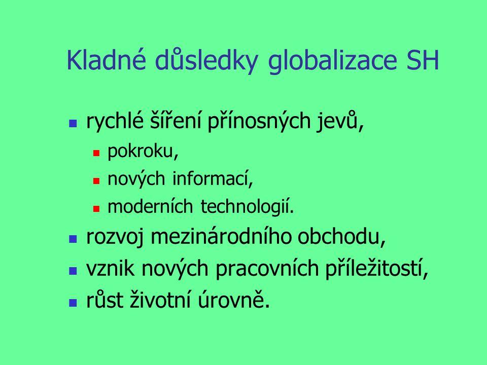 Kladné důsledky globalizace SH rychlé šíření přínosných jevů, pokroku, nových informací, moderních technologií.
