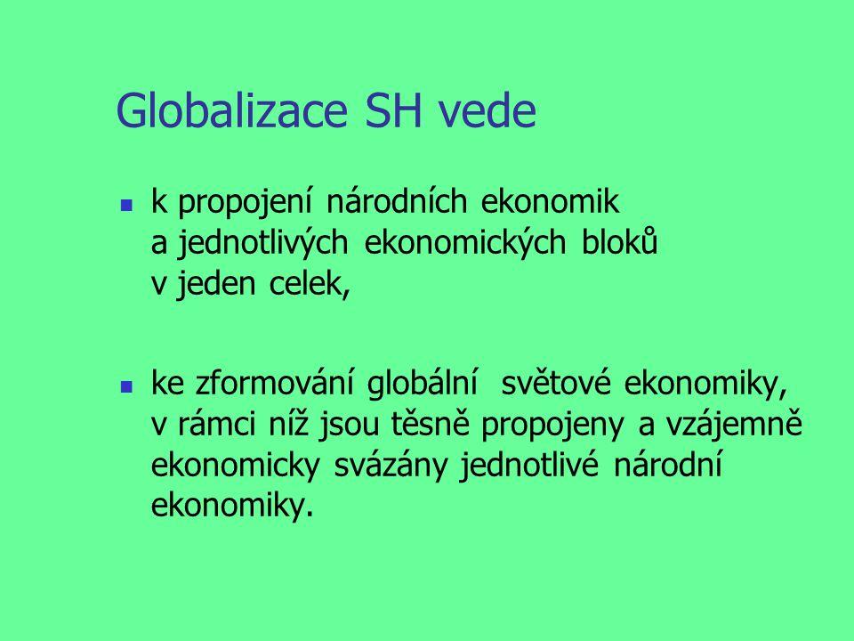 Globalizace SH vede k propojení národních ekonomik a jednotlivých ekonomických bloků v jeden celek, ke zformování globální světové ekonomiky, v rámci níž jsou těsně propojeny a vzájemně ekonomicky svázány jednotlivé národní ekonomiky.