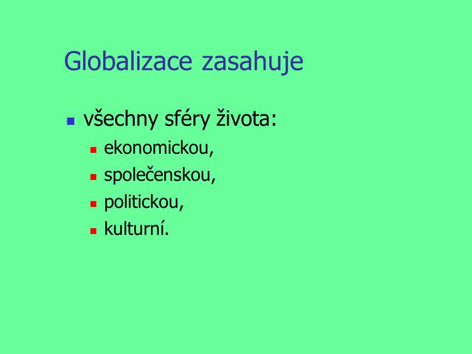 Globalizace zasahuje všechny sféry života: ekonomickou, společenskou, politickou, kulturní.