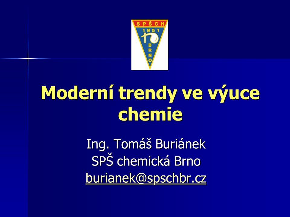 Moderní trendy ve výuce chemie Ing. Tomáš Buriánek SPŠ chemická Brno burianek@spschbr.cz