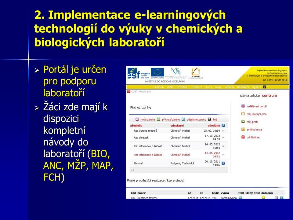 2. Implementace e-learningových technologií do výuky v chemických a biologických laboratoří  Portál je určen pro podporu laboratoří  Žáci zde mají k