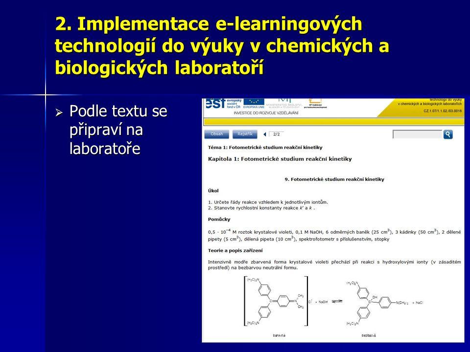  Podle textu se připraví na laboratoře 2. Implementace e-learningových technologií do výuky v chemických a biologických laboratoří
