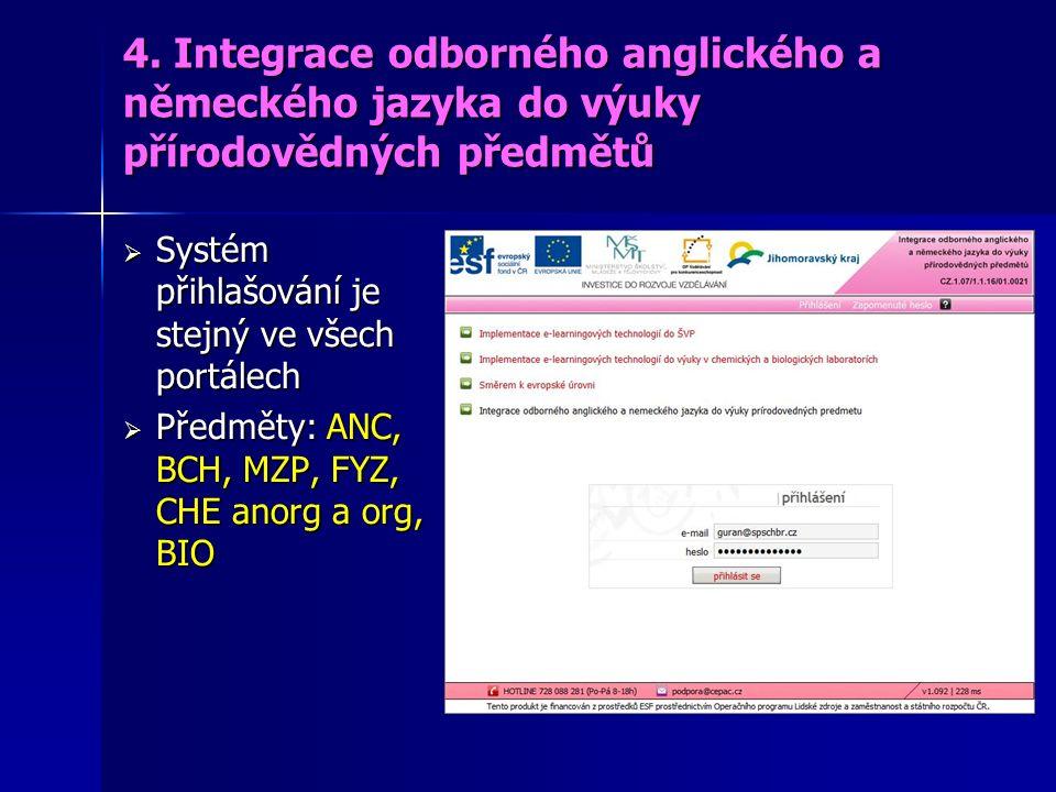 4. Integrace odborného anglického a německého jazyka do výuky přírodovědných předmětů  Systém přihlašování je stejný ve všech portálech  Předměty: A