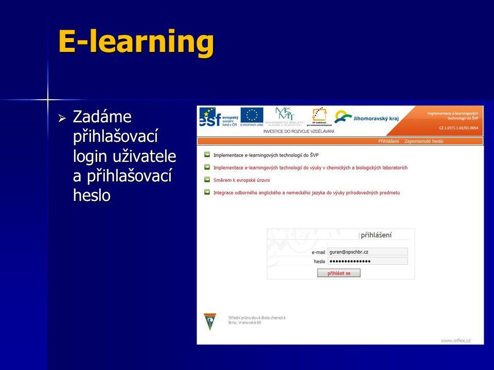  Zadáme přihlašovací login uživatele a přihlašovací heslo E-learning