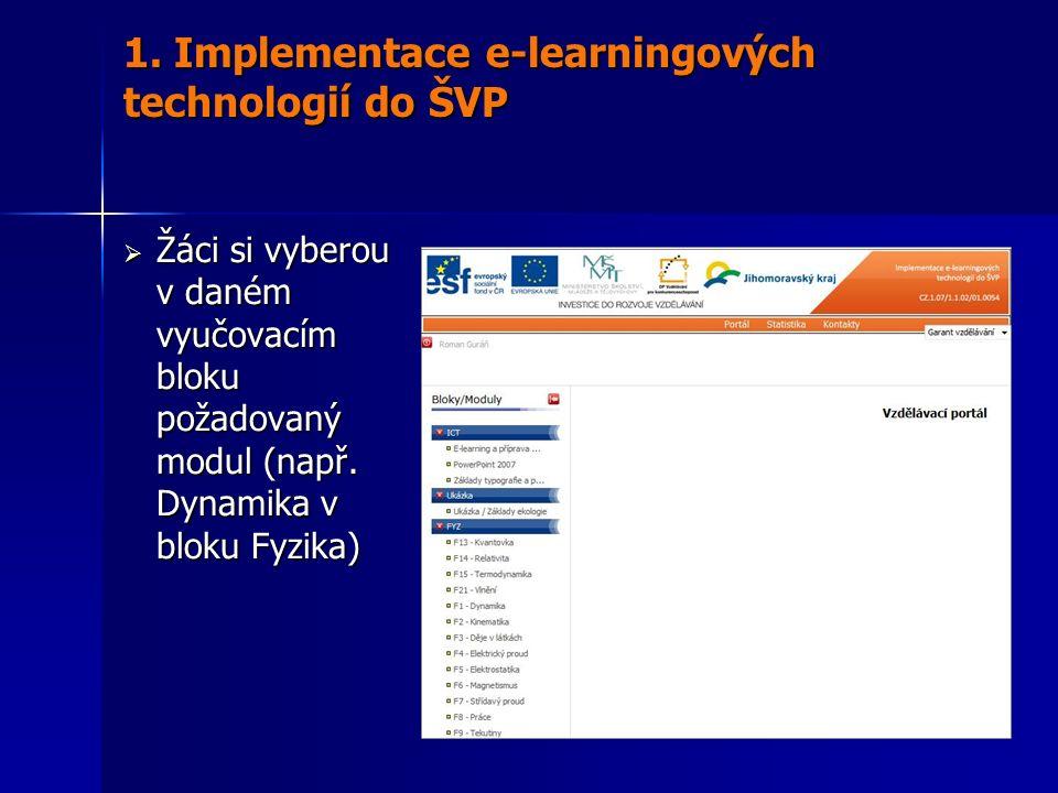  Žáci si vyberou v daném vyučovacím bloku požadovaný modul (např. Dynamika v bloku Fyzika) 1. Implementace e-learningových technologií do ŠVP