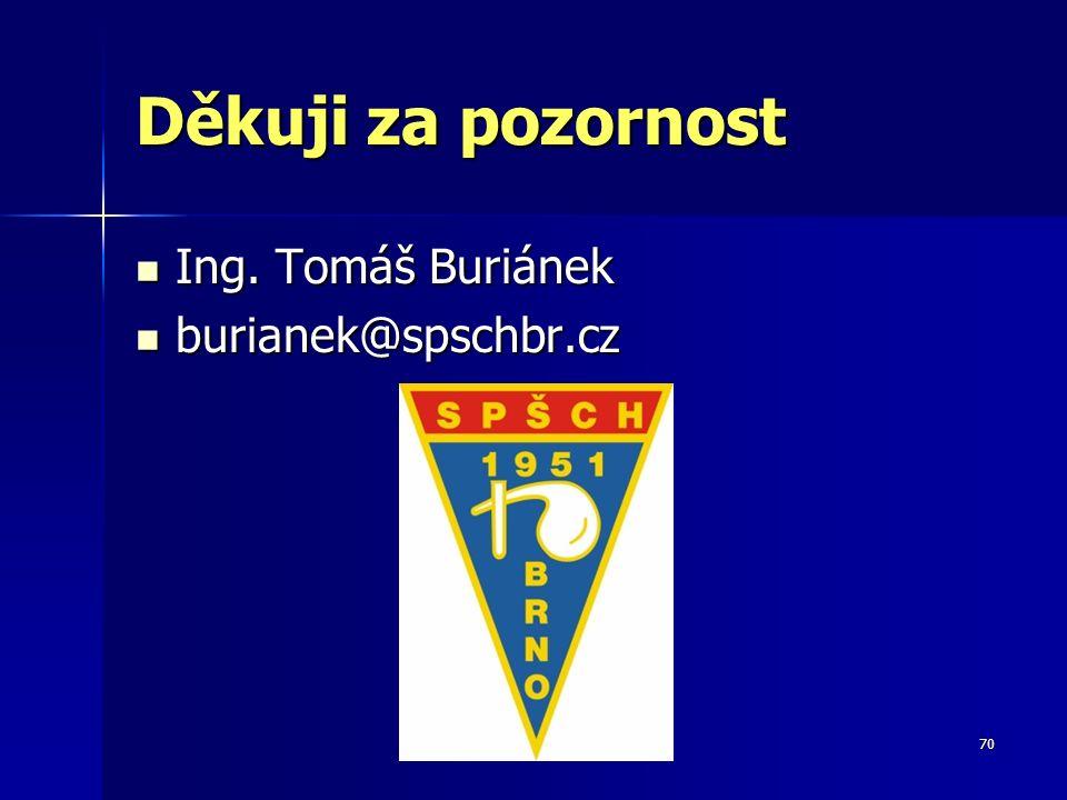 70 Děkuji za pozornost Ing. Tomáš Buriánek Ing. Tomáš Buriánek burianek@spschbr.cz burianek@spschbr.cz