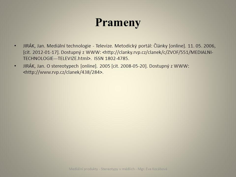Prameny JIRÁK, Jan. Mediální technologie - Televize.