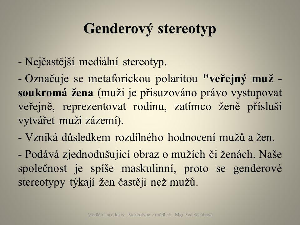 Genderový stereotyp v médiích Média tento stereotyp reprodukují: - Přímo - např.