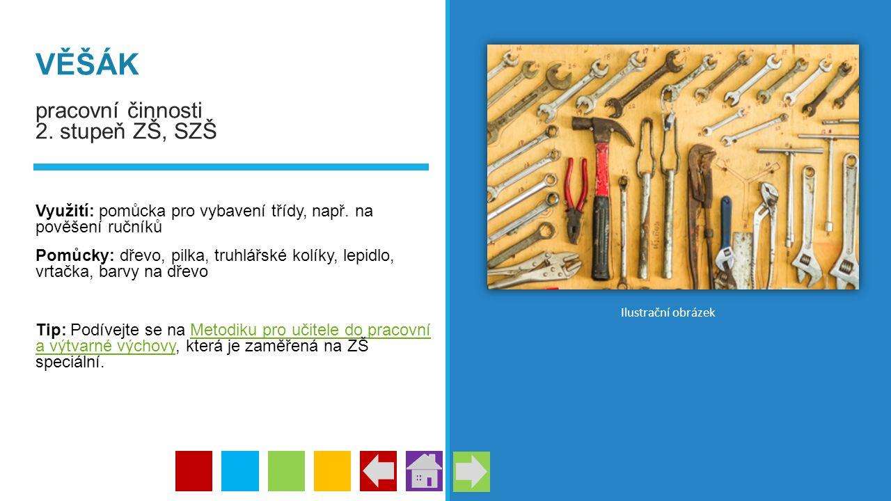 VĚŠÁK pracovní činnosti 2. stupeň ZŠ, SZŠ Využití: pomůcka pro vybavení třídy, např. na pověšení ručníků Pomůcky: dřevo, pilka, truhlářské kolíky, lep
