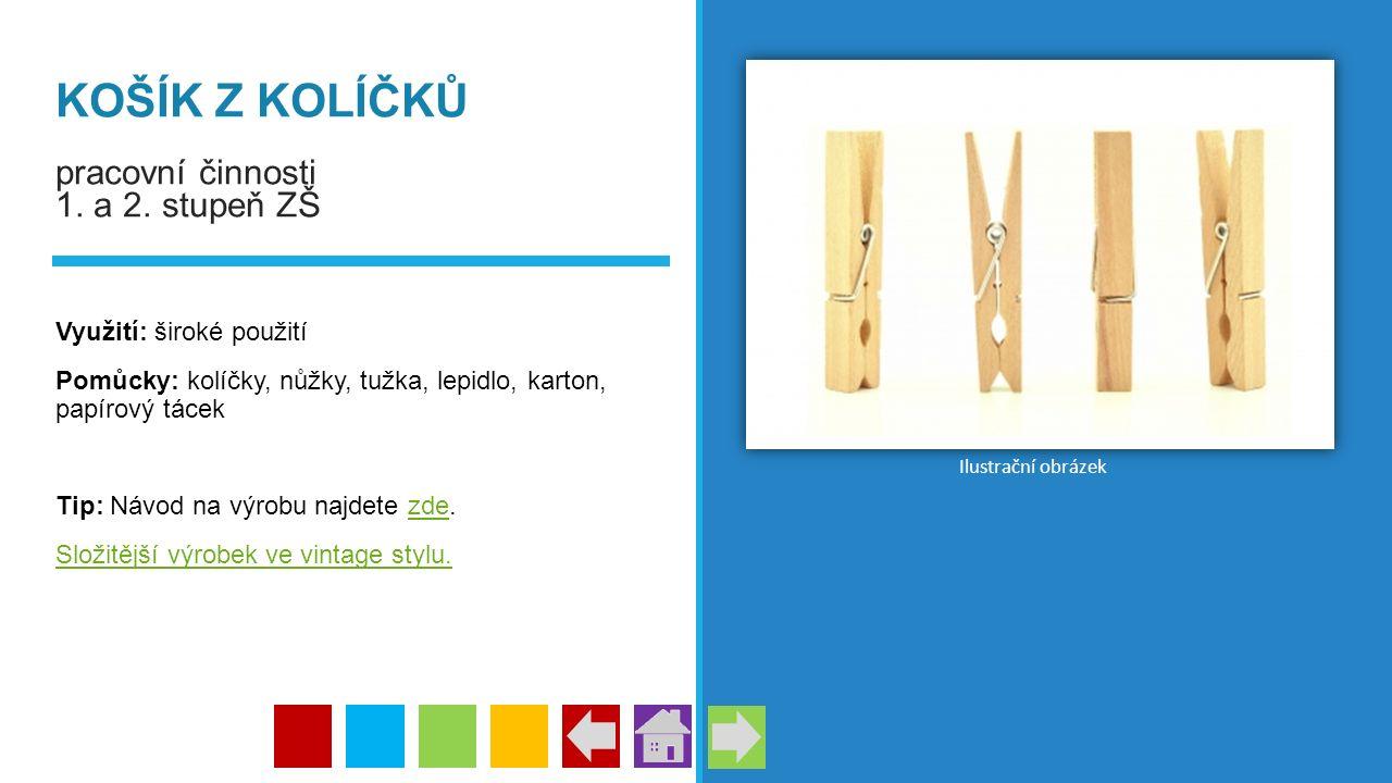 KOŠÍK Z KOLÍČKŮ pracovní činnosti 1. a 2. stupeň ZŠ Využití: široké použití Pomůcky: kolíčky, nůžky, tužka, lepidlo, karton, papírový tácek Tip: Návod