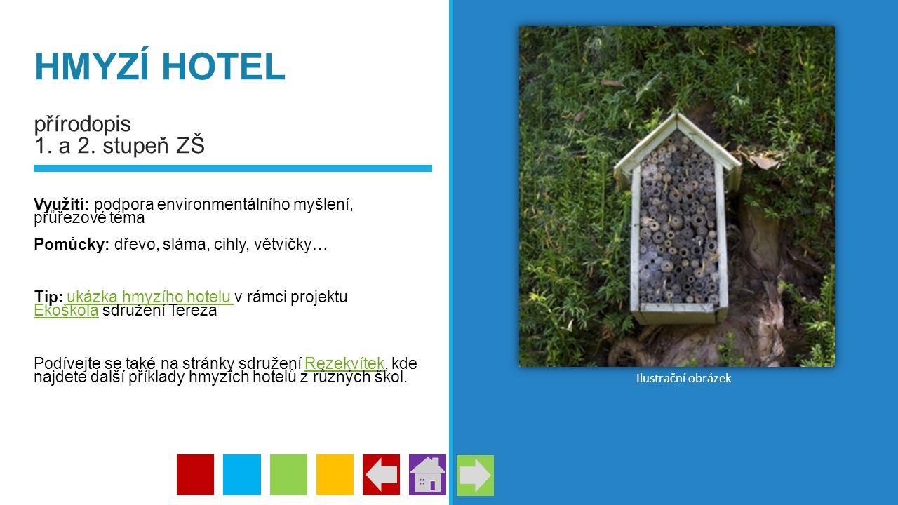 HMYZÍ HOTEL přírodopis 1. a 2. stupeň ZŠ Využití: podpora environmentálního myšlení, průřezové téma Pomůcky: dřevo, sláma, cihly, větvičky… Tip: ukázk