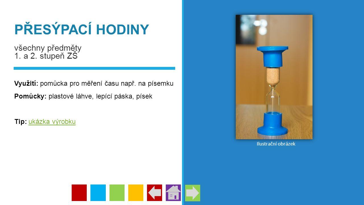 PŘESÝPACÍ HODINY všechny předměty 1. a 2. stupeň ZŠ Využití: pomůcka pro měření času např. na písemku Pomůcky: plastové láhve, lepící páska, písek Tip