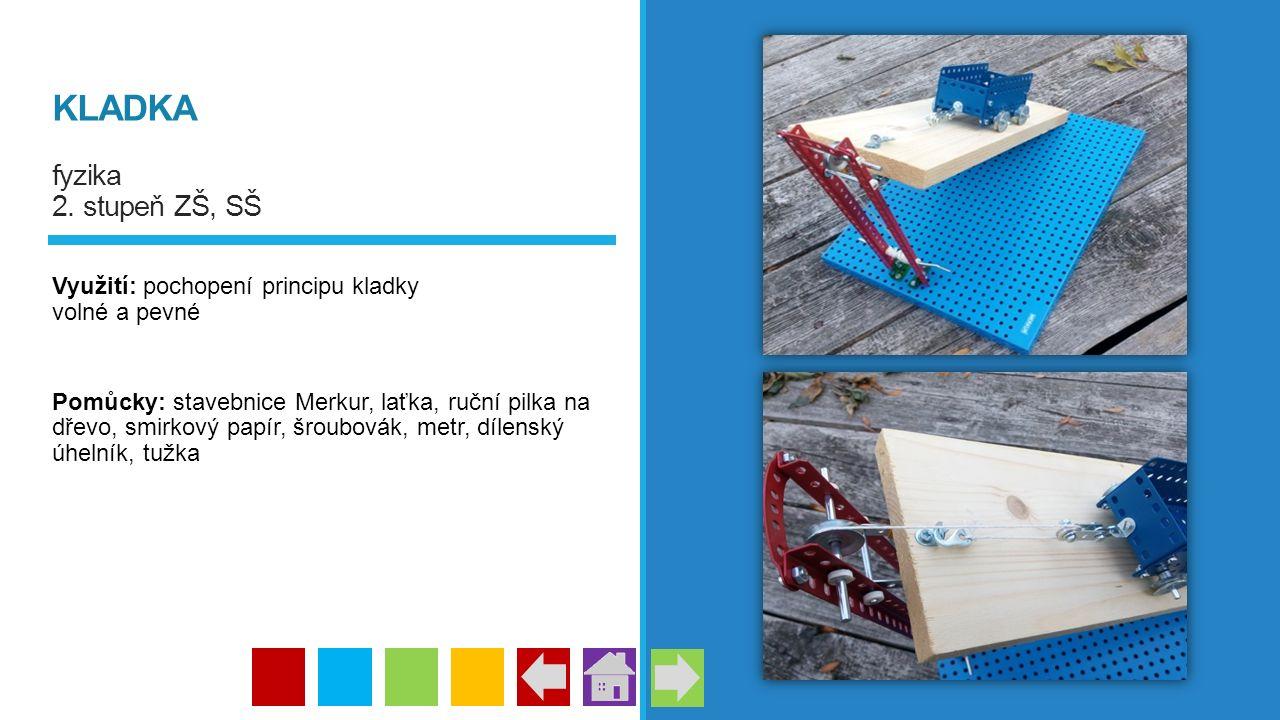 KLADKA fyzika 2. stupeň ZŠ, SŠ Využití: pochopení principu kladky volné a pevné Pomůcky: stavebnice Merkur, laťka, ruční pilka na dřevo, smirkový papí