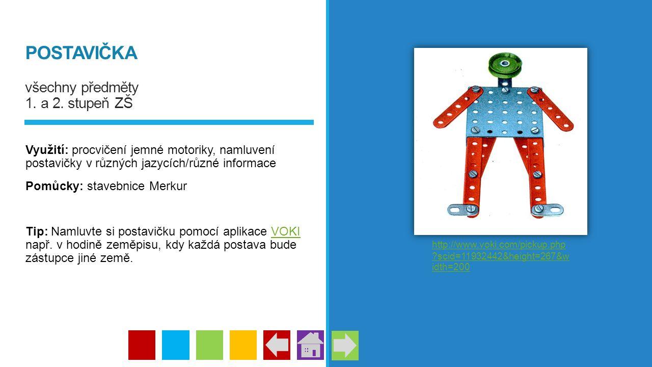 POSTAVIČKA všechny předměty 1. a 2. stupeň ZŠ Využití: procvičení jemné motoriky, namluvení postavičky v různých jazycích/různé informace Pomůcky: sta
