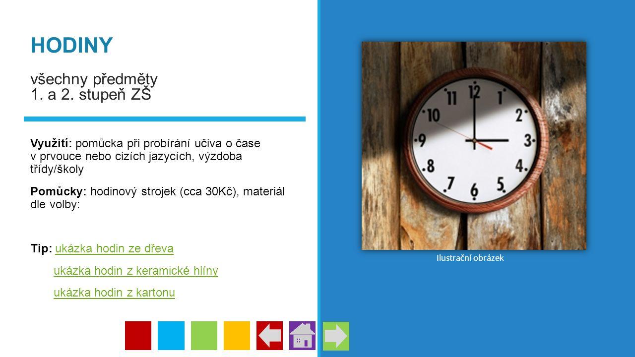 HODINY všechny předměty 1. a 2. stupeň ZŠ Využití: pomůcka při probírání učiva o čase v prvouce nebo cizích jazycích, výzdoba třídy/školy Pomůcky: hod