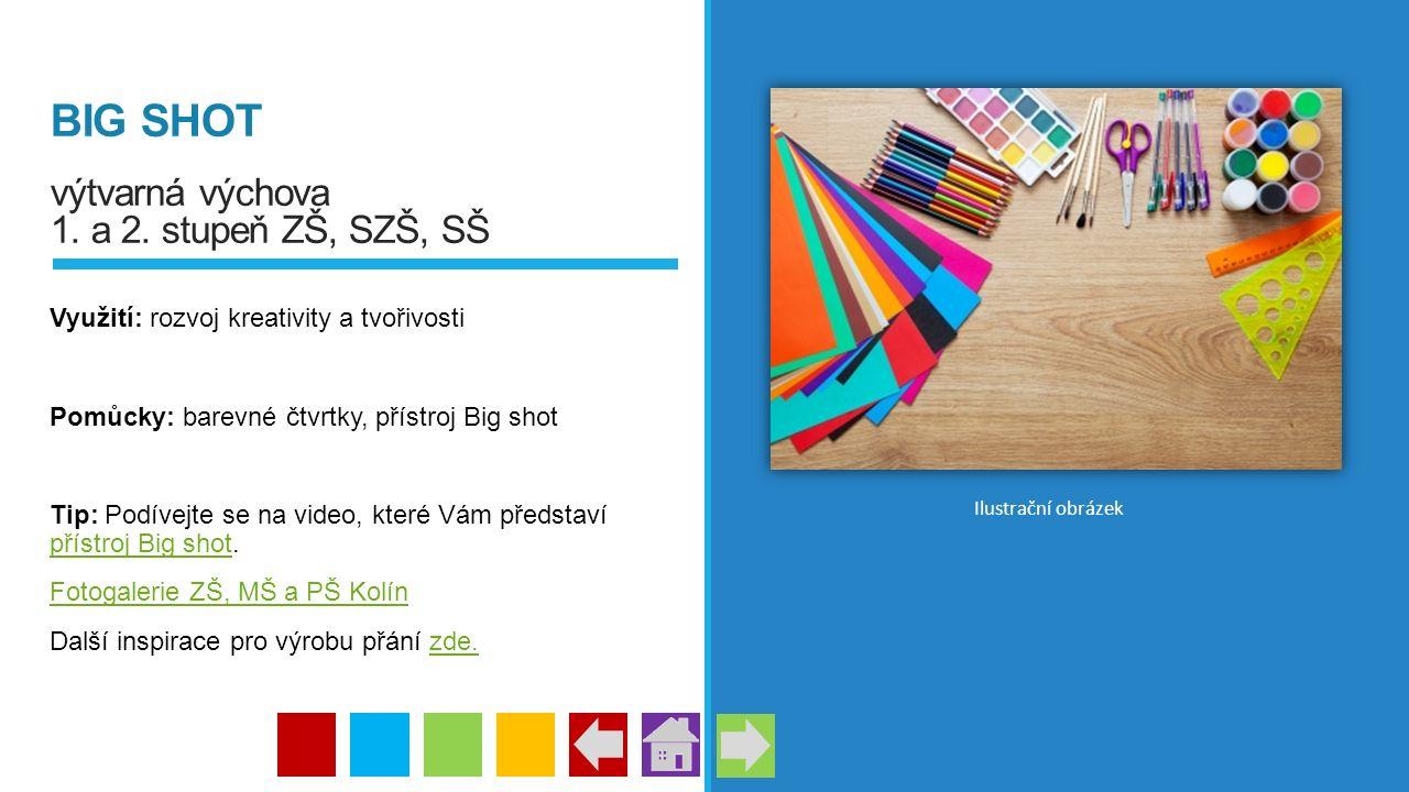 BIG SHOT výtvarná výchova 1. a 2. stupeň ZŠ, SZŠ, SŠ Využití: rozvoj kreativity a tvořivosti Pomůcky: barevné čtvrtky, přístroj Big shot Tip: Podívejt