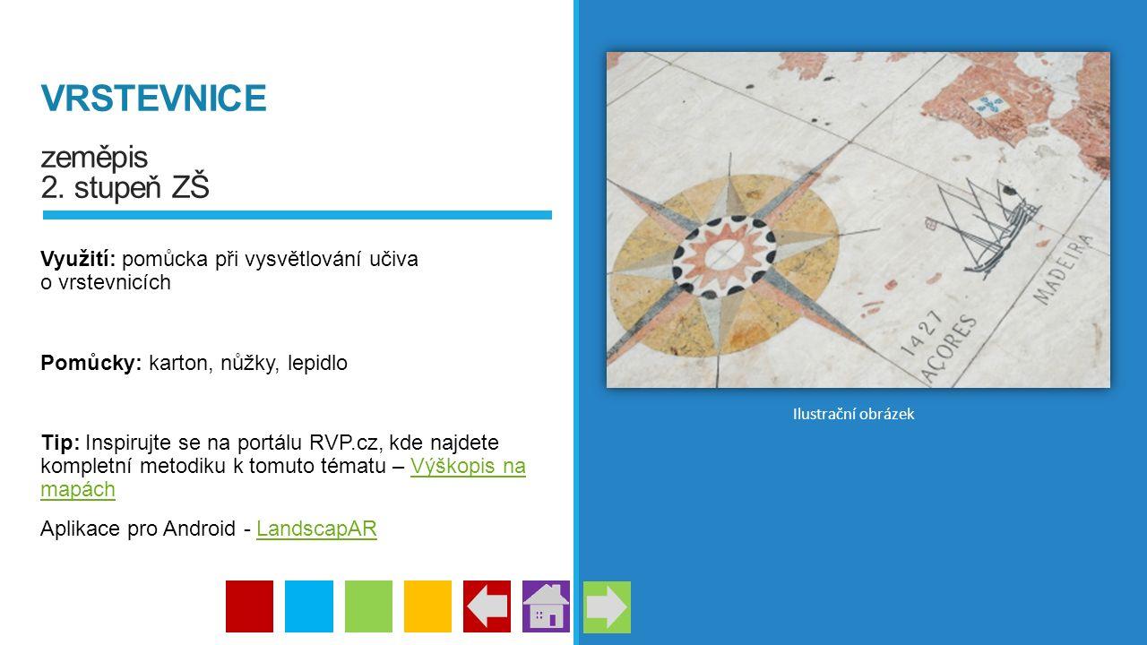 VRSTEVNICE zeměpis 2. stupeň ZŠ Využití: pomůcka při vysvětlování učiva o vrstevnicích Pomůcky: karton, nůžky, lepidlo Tip: Inspirujte se na portálu R