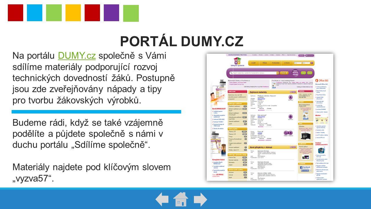 Na portálu DUMY.cz společně s Vámi sdílíme materiály podporující rozvoj technických dovedností žáků. Postupně jsou zde zveřejňovány nápady a tipy pro