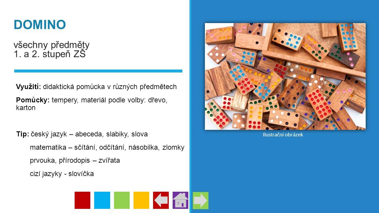 DOMINO všechny předměty 1. a 2. stupeň ZŠ Využití: didaktická pomůcka v různých předmětech Pomůcky: tempery, materiál podle volby: dřevo, karton Tip: