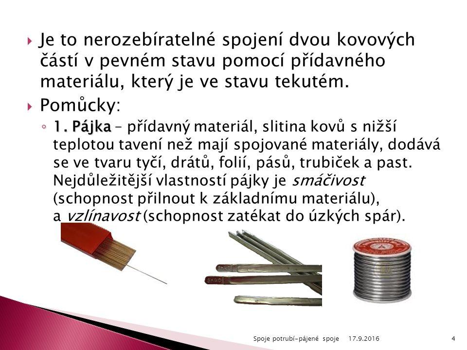  Je to nerozebíratelné spojení dvou kovových částí v pevném stavu pomocí přídavného materiálu, který je ve stavu tekutém.