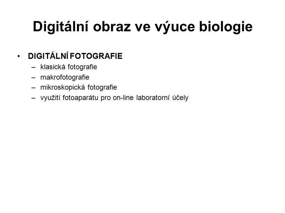 Digitální obraz ve výuce biologie SKENOVÁNÍ –klasické skenování obrázků –skenování dokumentů a jeho převod –skenování diapozitivů –skenování biologického materiálu