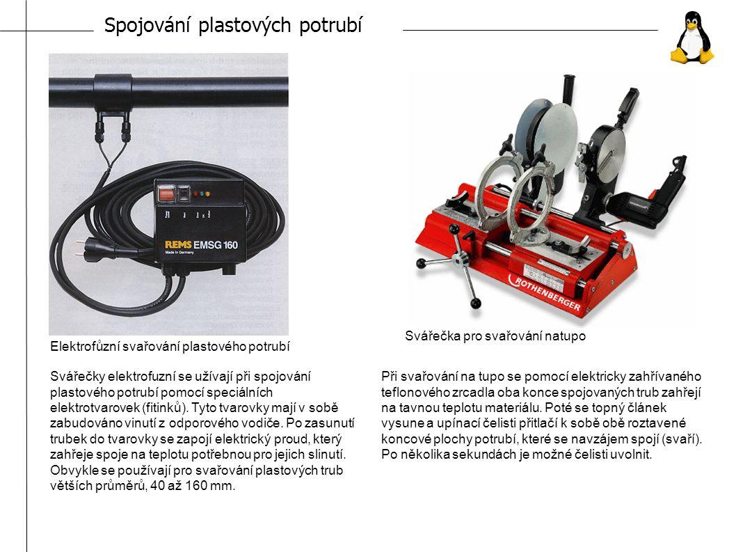 Spojování plastových potrubí Elektrofůzní svařování plastového potrubí Svářečka pro svařování natupo Svářečky elektrofuzní se užívají při spojování plastového potrubí pomocí speciálních elektrotvarovek (fitinků).