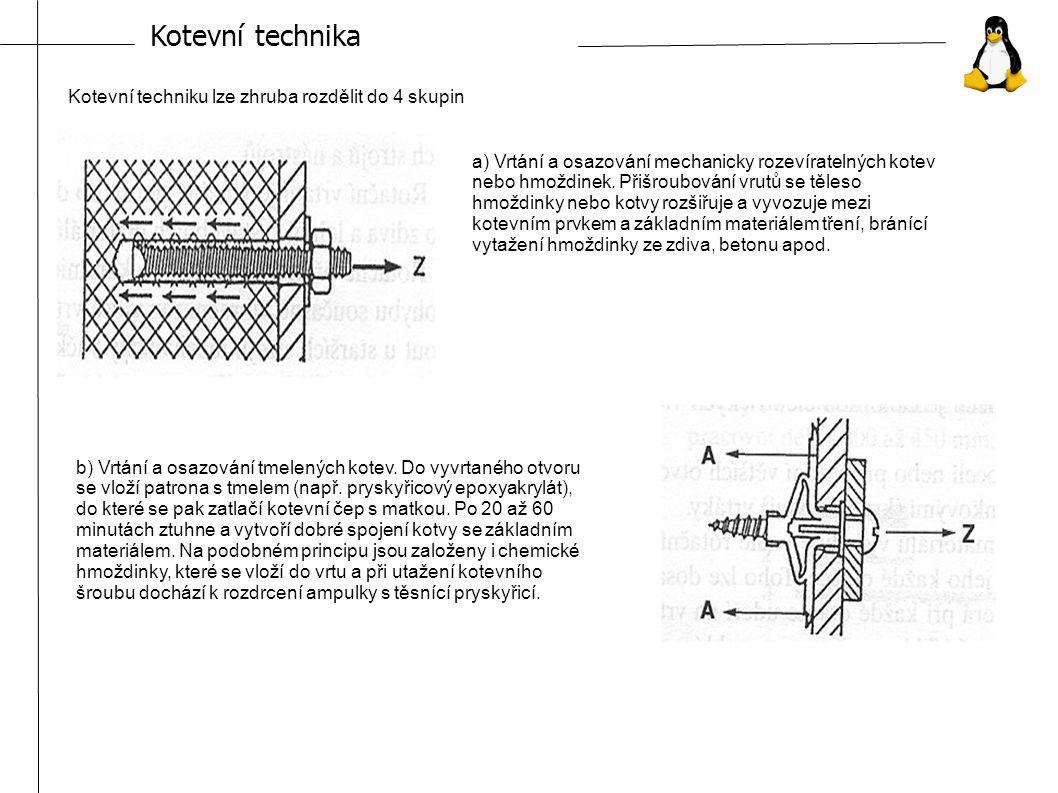 Kotevní technika Kotevní techniku lze zhruba rozdělit do 4 skupin a) Vrtání a osazování mechanicky rozevíratelných kotev nebo hmoždinek.