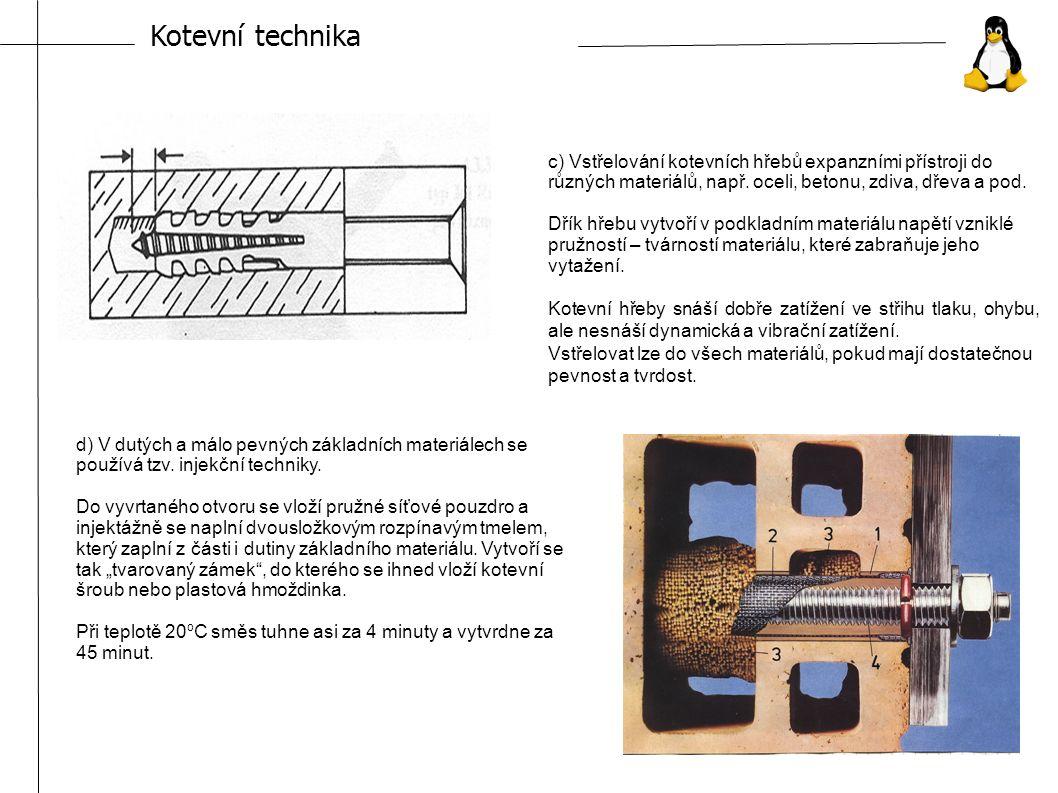 Kotevní technika c) Vstřelování kotevních hřebů expanzními přístroji do různých materiálů, např.