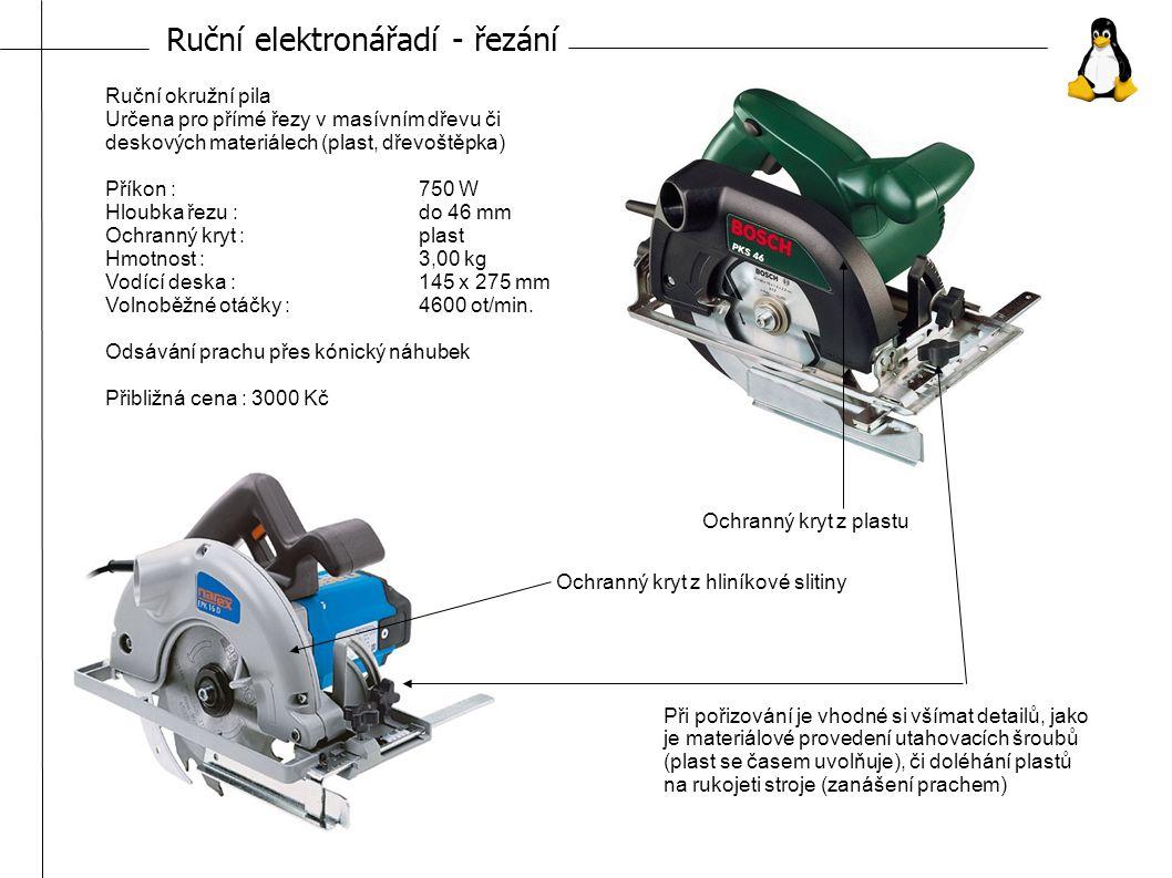 Ruční elektronářadí - šroubování Spoušť Přepínač zpětného chodu Akumulátor Přepínač rychlosti vrtání Nabíjení akumulátoru : cca 60 min Napětí : 12 V Kapacita : 1,5 Ah Maximální průměr vrtání v oceli/dřevě : 10/20 mm Rychlost otáček rychlost 1: 400 ot./min Rychlost otáček rychlost 2: 1350 ot./min Maximální kroutící moment : 28 – 33 Nm Rozsah sklíčidla : 1 – 10 mm Hmotnost : 1,7 kg Cena : cca 3500 Kč