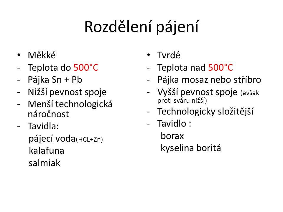 Rozdělení pájení Měkké -Teplota do 500°C -Pájka Sn + Pb -Nižší pevnost spoje -Menší technologická náročnost -Tavidla: pájecí voda (HCL+Zn) kalafuna salmiak Tvrdé -Teplota nad 500°C -Pájka mosaz nebo stříbro -Vyšší pevnost spoje (avšak proti sváru nižší) -Technologicky složitější -Tavidlo : borax kyselina boritá