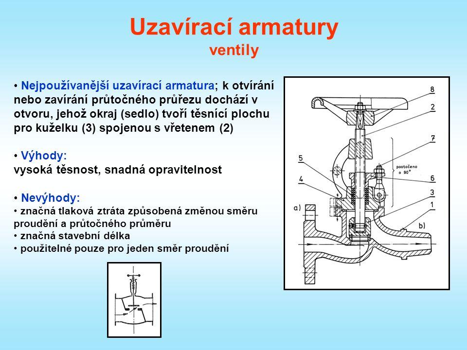 Uzavírací armatury ventily Nejpoužívanější uzavírací armatura; k otvírání nebo zavírání průtočného průřezu dochází v otvoru, jehož okraj (sedlo) tvoří těsnící plochu pro kuželku (3) spojenou s vřetenem (2) Výhody: vysoká těsnost, snadná opravitelnost Nevýhody: značná tlaková ztráta způsobená změnou směru proudění a průtočného průměru značná stavební délka použitelné pouze pro jeden směr proudění