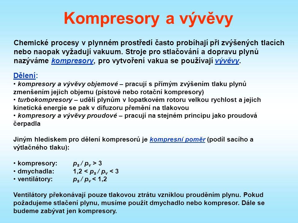 Kompresory a vývěvy Chemické procesy v plynném prostředí často probíhají při zvýšených tlacích nebo naopak vyžadují vakuum.