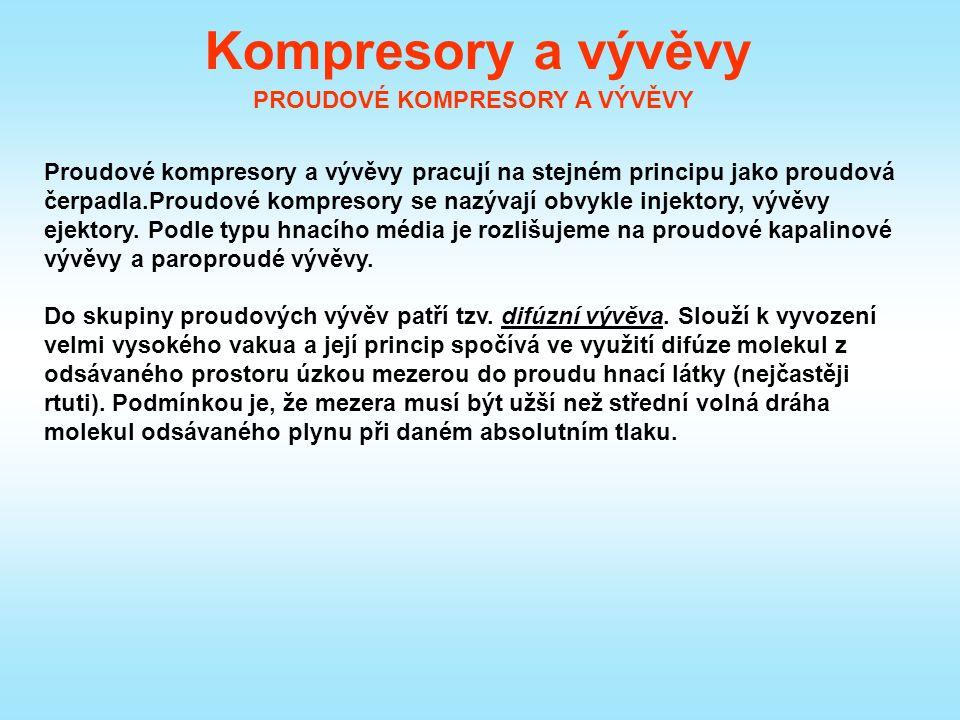 Kompresory a vývěvy PROUDOVÉ KOMPRESORY A VÝVĚVY Proudové kompresory a vývěvy pracují na stejném principu jako proudová čerpadla.Proudové kompresory se nazývají obvykle injektory, vývěvy ejektory.