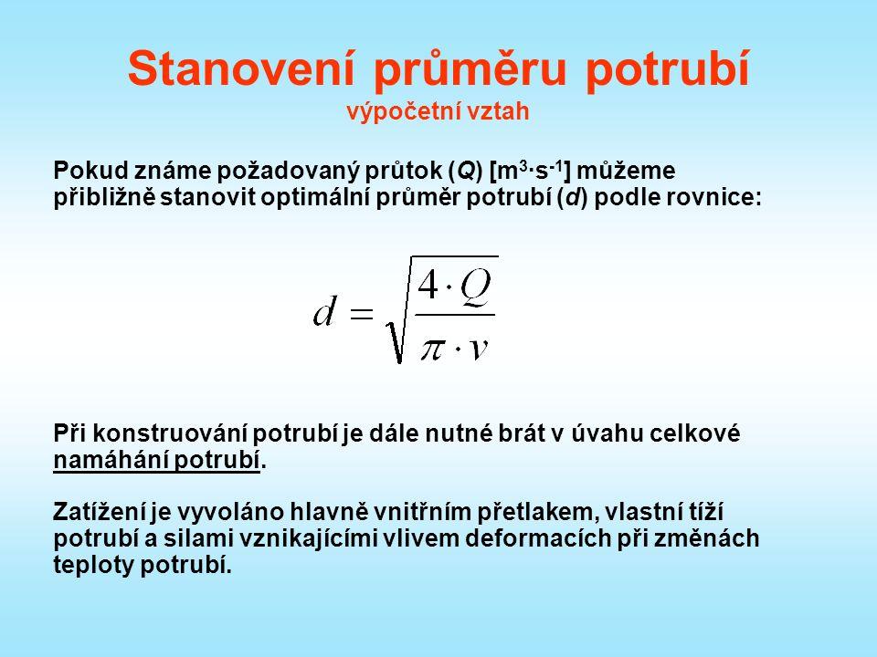 Stanovení průměru potrubí výpočetní vztah Pokud známe požadovaný průtok (Q) [m 3 ·s -1 ] můžeme přibližně stanovit optimální průměr potrubí (d) podle rovnice: Při konstruování potrubí je dále nutné brát v úvahu celkové namáhání potrubí.