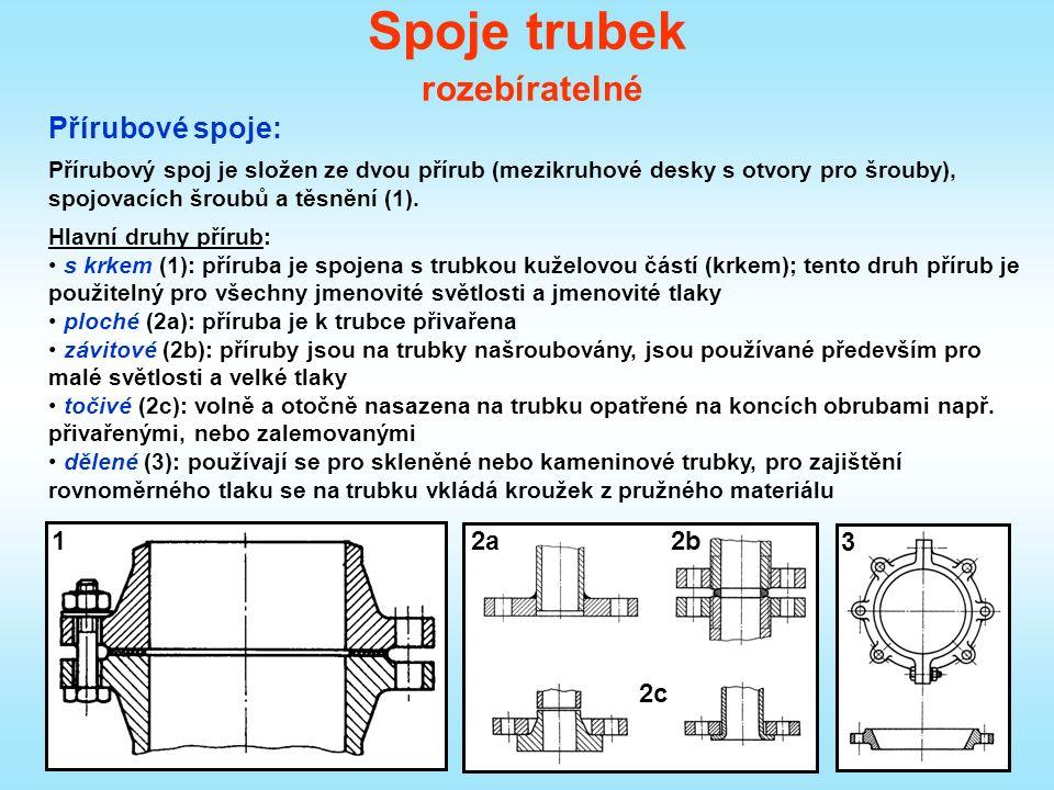 Spoje trubek rozebíratelné Přírubové spoje: Přírubový spoj je složen ze dvou přírub (mezikruhové desky s otvory pro šrouby), spojovacích šroubů a těsnění (1).