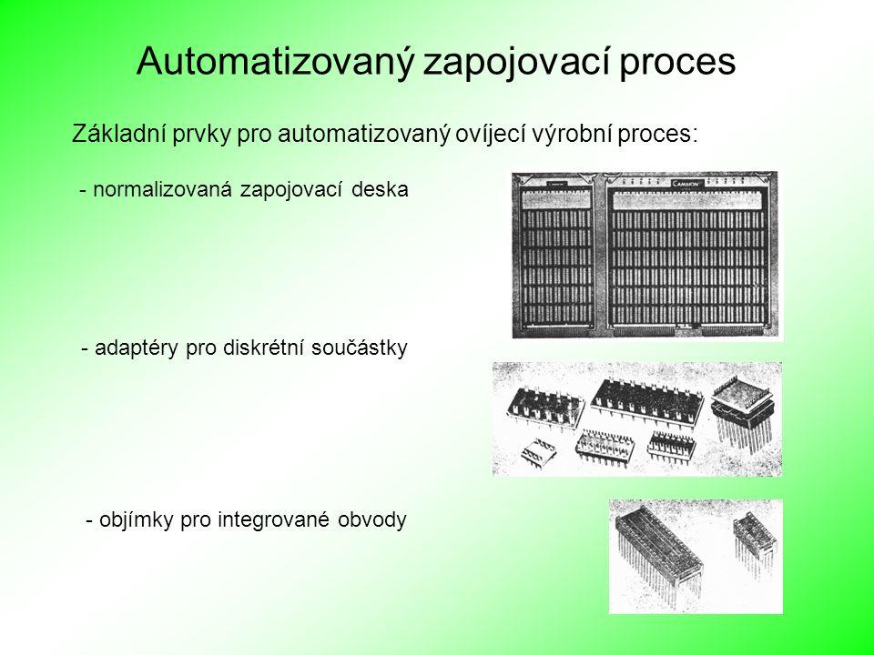 Automatizovaný zapojovací proces Základní prvky pro automatizovaný ovíjecí výrobní proces: - normalizovaná zapojovací deska - adaptéry pro diskrétní s