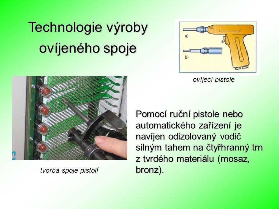 tvorba spoje pistolí Pomocí ruční pistole nebo automatického zařízení je navíjen odizolovaný vodič silným tahem na čtyřhranný trn z tvrdého materiálu