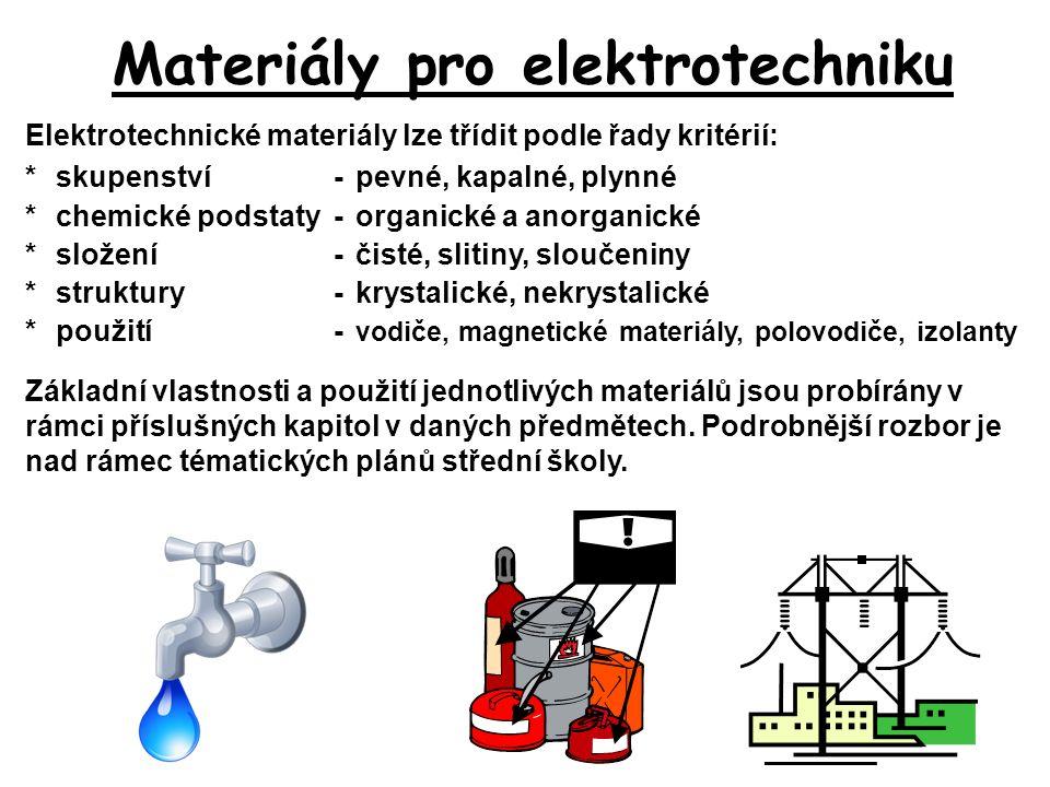 Materiály pro elektrotechniku Elektrotechnické materiály lze třídit podle řady kritérií: *skupenství-pevné, kapalné, plynné *chemické podstaty-organic