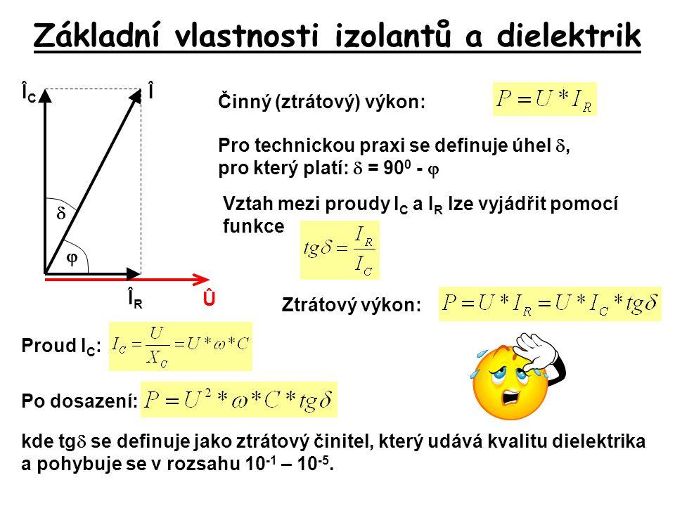 Základní vlastnosti izolantů a dielektrik Û ÎRÎR ÎCÎC Î  Vztah mezi proudy I C a I R lze vyjádřit pomocí funkce Pro technickou praxi se definuje úhel
