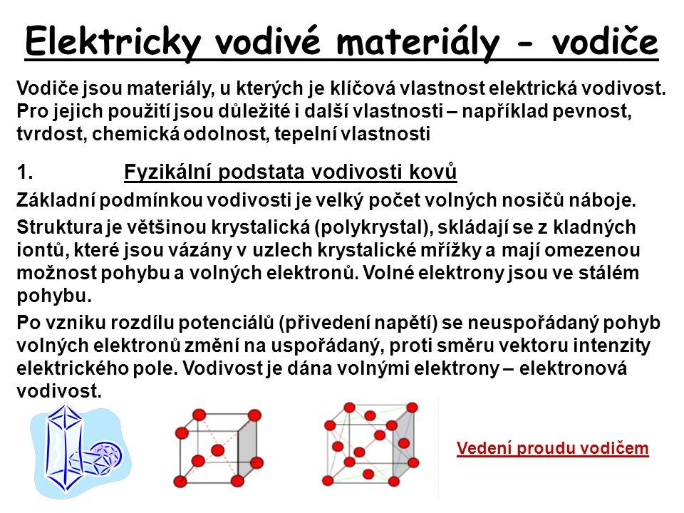 Elektricky vodivé materiály - vodiče Vodiče jsou materiály, u kterých je klíčová vlastnost elektrická vodivost. Pro jejich použití jsou důležité i dal