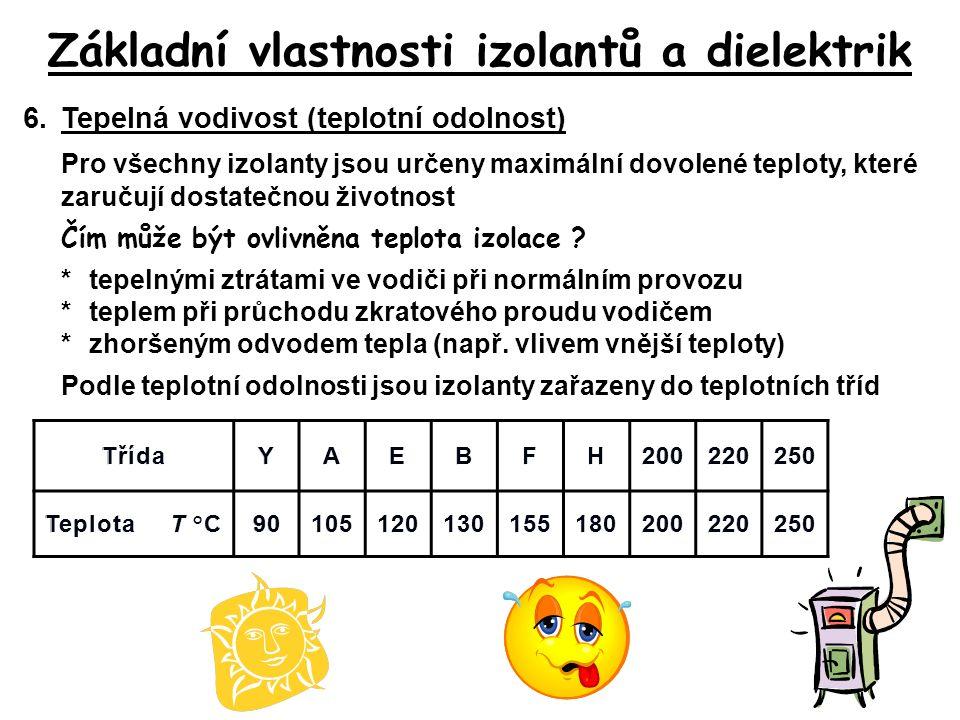 Základní vlastnosti izolantů a dielektrik 6.Tepelná vodivost (teplotní odolnost) Pro všechny izolanty jsou určeny maximální dovolené teploty, které za
