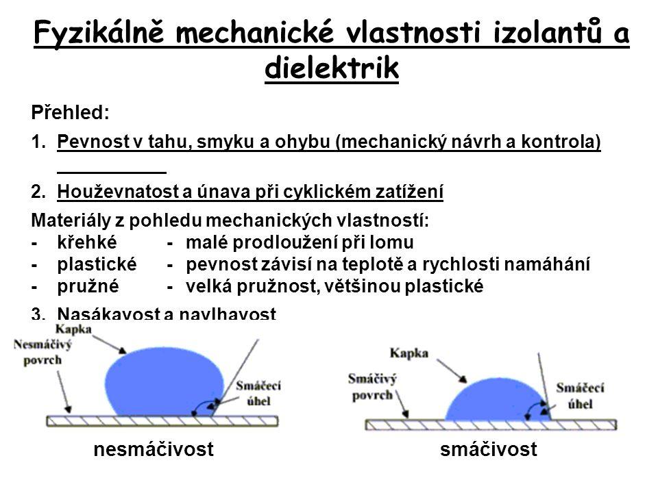 Fyzikálně mechanické vlastnosti izolantů a dielektrik Přehled: 1.Pevnost v tahu, smyku a ohybu (mechanický návrh a kontrola) 2.Houževnatost a únava př