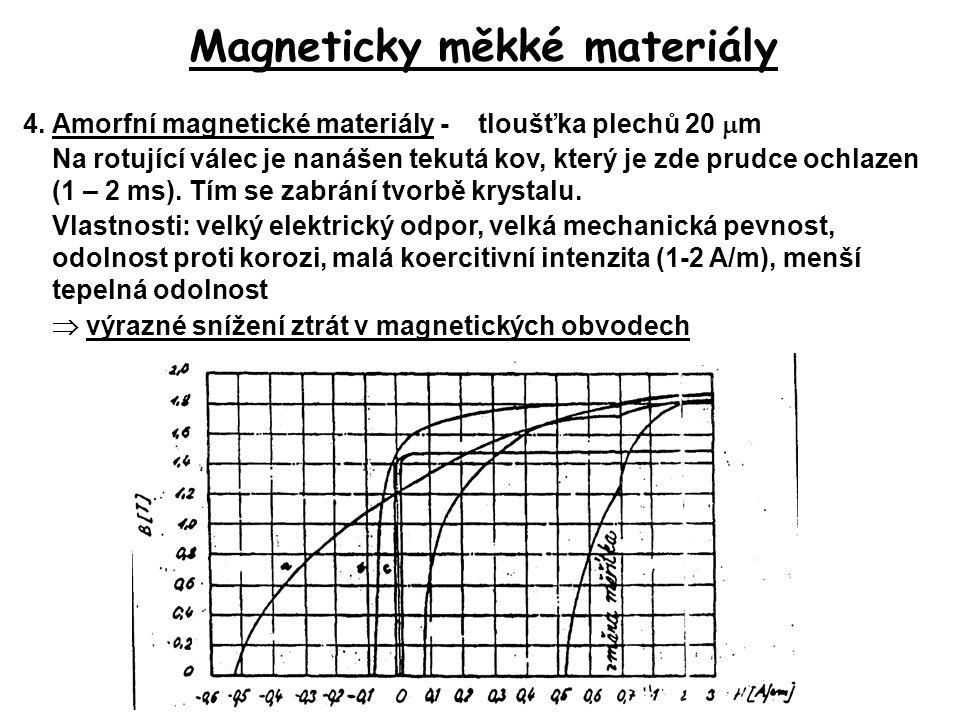 Magneticky měkké materiály 4.Amorfní magnetické materiály - tloušťka plechů 20  m Na rotující válec je nanášen tekutá kov, který je zde prudce ochlaz