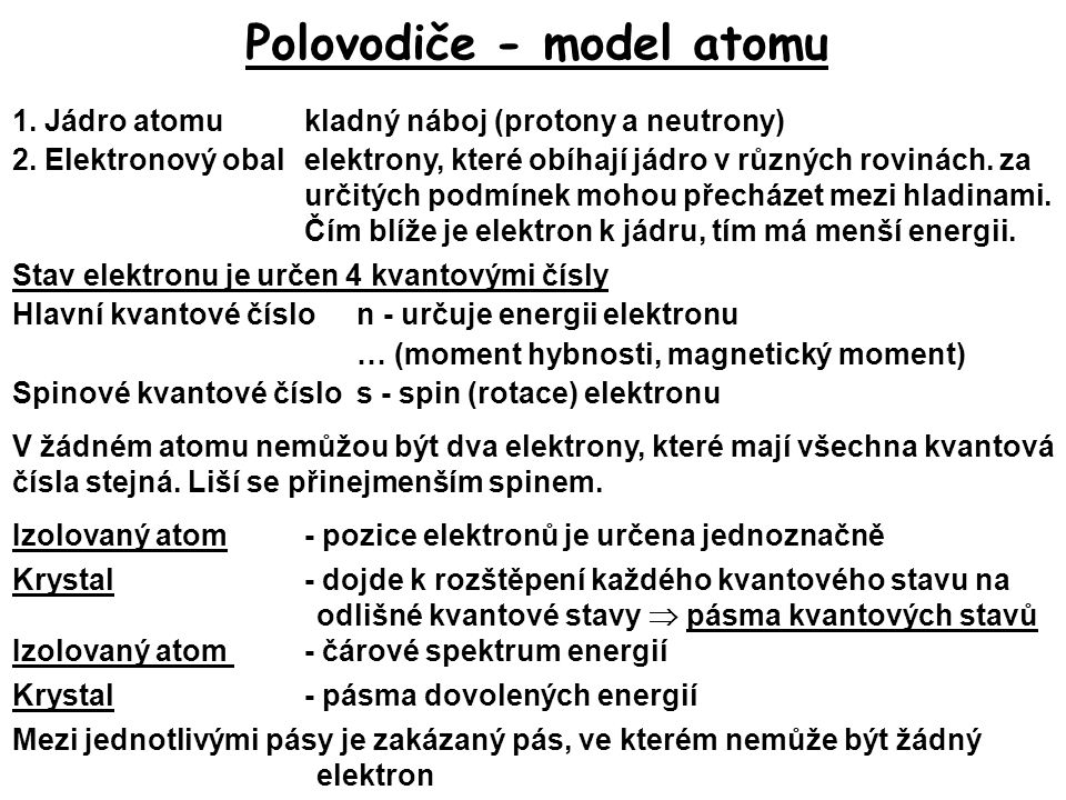 Polovodiče - model atomu 1. Jádro atomu kladný náboj (protony a neutrony) 2. Elektronový obalelektrony, které obíhají jádro v různých rovinách. za urč