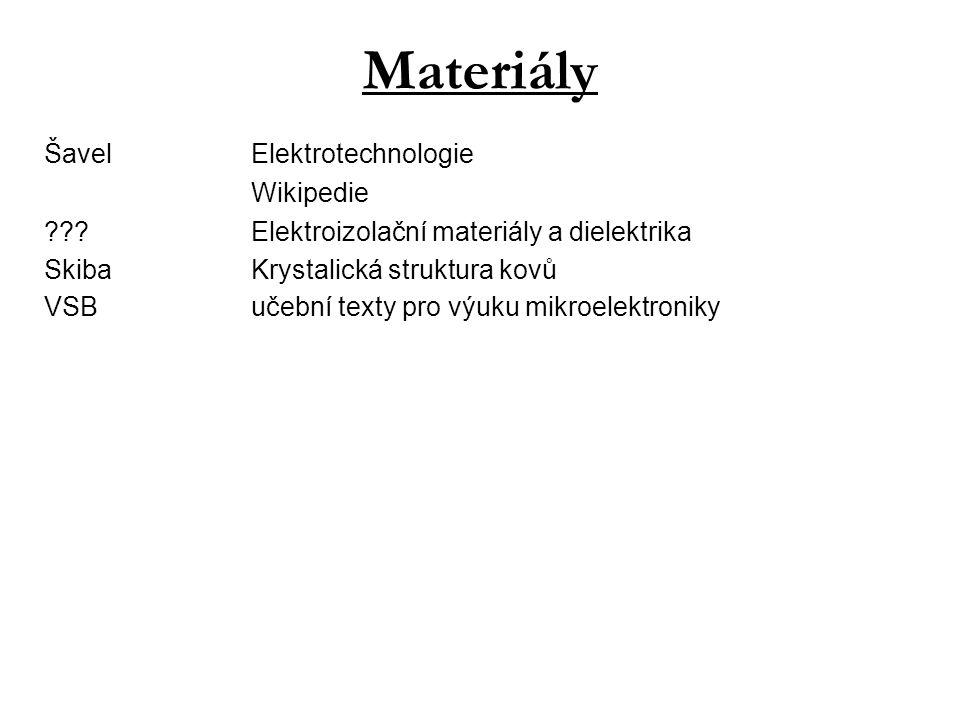 Materiály ŠavelElektrotechnologie Wikipedie ???Elektroizolační materiály a dielektrika SkibaKrystalická struktura kovů VSBučební texty pro výuku mikro